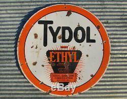 Station Service Vintage En Métal Avec Signe Double Face En Porcelaine Tydol Ethyl 30