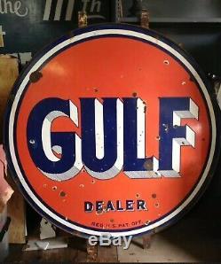 Station Vintage Gulf Gas Concessionnaire 66 Porcelaine Bilaterale W Support Rond Signe