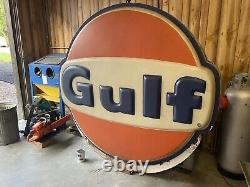 Station-service Vtg Gulf Illuminée Double Sided Sign Pump Oil Service Station