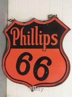 Super Propre! Bague Originale À Double Face 48 Phillips 66 Oil Gas Porcelain Sign