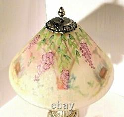 Superbe Fenton Dual Sided Hand Painted Glass Shade Hummingbird Lamp Signed Nwt