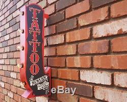 Tattoo Plug-in Ou Batterie Double Face Arrow Signe Lumineux De Chapiteau En Métal Rustique