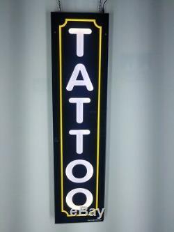 Tattoo Signe Avec Bordure Jaune, Signe De Led Boîte À Lumière, Couleur Blanche 12x48x2 Inc