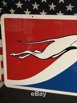 Terminal Rare Original Vintage Greyhound Bus Station Double Face Sign Métal