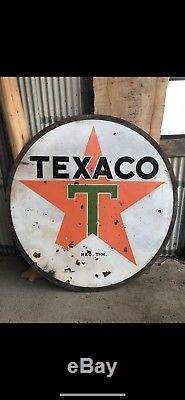 Texaco Double Face Porcelaine, Vintage Sign, Souvenirs Gas & Oil