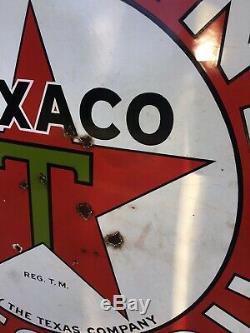 Texaco Essence Huile De Moteur En Porcelaine Original Double Face Station Signe 42 1933