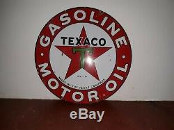 Texaco Oil Service Essence-moteur Station Signe, Double Face, 42, Porcelaine