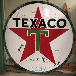 Texaco Vintage 1965 Panneau De Porcelaine Métallique À Double Face (6 Pi. Diamètre)