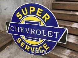 Très Grande Enseigne En Porcelaine Double Face De Chevrolet