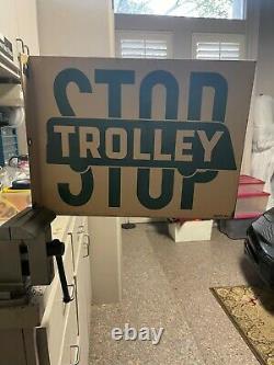 Trolley D'arrêt Vintage À Double Face En Porcelaine