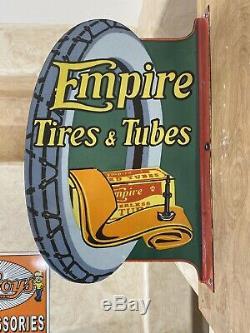 Tubes Et Vintage''empire Flanged Les Pneus '' Porcelain Signe Double Face 24x16'