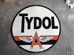 Tydol En Porcelaine Double Face Originale 48 Battant Un Signe Veedol Texaco Mobil
