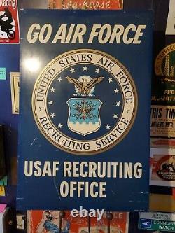 Us Air Force Usaf Recrutement Bureau Stout Sign Vietnam Era Double Face 60s