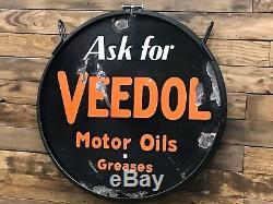 Veedol Motor Oil Plaque En Porcelaine Double Face Avec Anneau