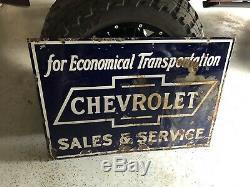 Ventes Chevrolet Sevice Double Face Porcelaine Signe