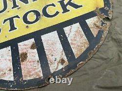 Véritable Dunlop Stock Double Face Émail Panneau Publicitaire Automobilia 24 Pneus