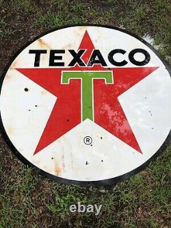 Very Clean Original 1964 Texaco Double Côté Porcelaine Panneau Publicitaire 6 Ft D
