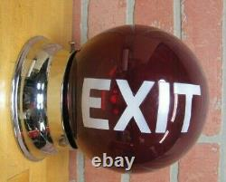 Vieille Exit Ruby Red Glass Ball Lighted Sign Double Deded Mounted Lamp