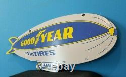 Vieille Goodyear Pneus Porcelaine Gas Aviation Blimp Double Panneau De Service