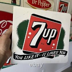 Vieux 7up Seven Up Soda Double Sided Adverting Flange Sign You Like It Likes You