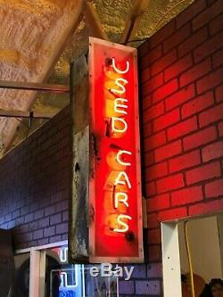 Vieux Verticale Voitures Vo Double Face Signe Vintage Neon Antique Patine Wow Rod Rat