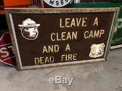 Vieux Vieillissement Fumée L'ours Clean Camp Dead Fire En Bois Patine Double Face