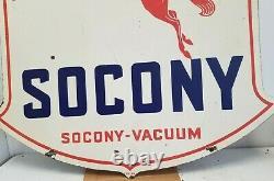 Vintage 1934 Standard Oil Co. Socony-vacuum Pegasus Double Côté Porcelaine Panneau