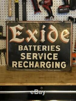 Vintage 1948-1950 Exide Batteries Original Signe Peint / Acier. Double Face