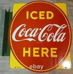 Vintage 1951 Porcelaine P&m Coca Cola Panneau À Bille Double Face