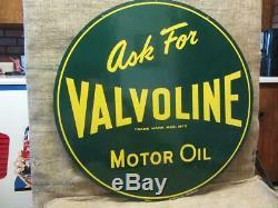 Vintage 1952 Immense Double Face Valvoline Huile Moteur Signe Antique Old Gas 9337
