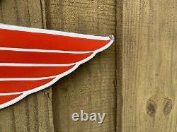 Vintage 1953 Mobil Gas Red Pegasus Cheval En Porcelaine Pancarte De Métal XL Double Face