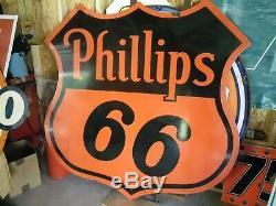 Vintage 1958 Phillips 66 Porcelaine 6ft Double Face Connexion
