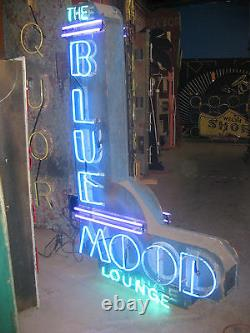 Vintage 1970 Blue Mood Lounge Antique Neon Signe / Grand Double Face