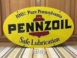 Vintage 1972 Pennzoil Double Face En Métal Ovale Sign A M 1-72 31 X 18 Oil Gas 1