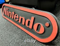 Vintage 4 Pieds Nintendo Double-sided Hanging Store Signe D'affichage Promotionnel Nes