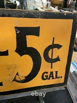 Vintage 5 Cents Par Gallon D'huile De Charbon Double Sided Metal Flange Signe Gas Oil Soda