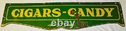 Vintage 60 1920's Cigar Candy Double Sided Porcelain Sign Soda Fountain