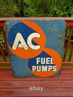 Vintage Ac Spark Plug Fuel Pump Sign Huile Station-service Peut Double Face Acier Automatique