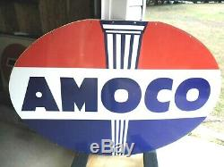 Vintage Amoco 6ft Porcelaine Double Signe Sided 1958 Sps X 6 Pi 4 Pi Dur 2 Trouver