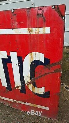 Vintage Atlantic Gas & Oil Double Face Porcelaine 72 X 42 Inscription Rusty Barn Hanger