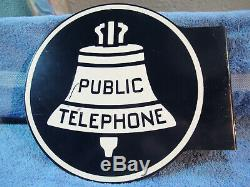 Vintage Bell Public Système De Téléphone Téléphone Double-sided Signe Métal Bride