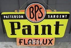 Vintage Bps Paint Sign Flatux Satgent Double Face En Porcelaine Originale Rare