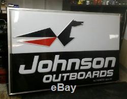 Vintage C. Signalisation Double Face Du Concessionnaire Johnson Boat Motors Des Années 1960-1970