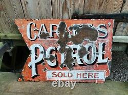Vintage Carless Petrol Double Sided Enamel Sign- Automobilia Motor Collectable