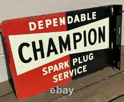 Vintage Champion Spark Plug Service Flange Signe Double Sided, Années 1940
