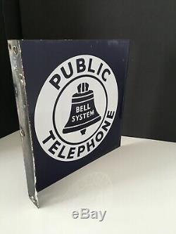 Vintage De Bell Système Téléphonique Public Porcelain Double Face Flanged Signe 11x11