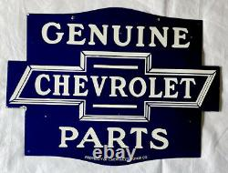 Vintage Double Côté Chevrolet 24 Pièces Porcelaine Enseigne Service D'essence De Voiture