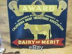 Vintage Double Face 1978 Cow Prix Dairy Sign & Hanger Antique Farm Rare 9865
