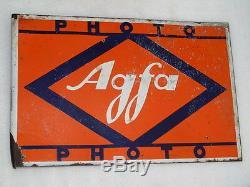 Vintage Double Face Agfa Photo Publicité Caméra Émail Porcelaine Conseil Sign