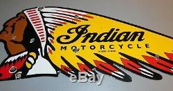 Vintage Double Face Indian Motorcycle Die Cut Porcelain Dealer Signe De 1950